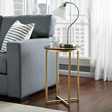 Vintage Side End Table Furniture Shabby Chic Round Wooden Top Gold Metal Base