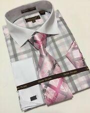 Men's Henri Picard Pink White Grey Checkered Design Cuffed Dress Shirt Combo NEW