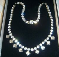 ART DECO Geometric Drops Rhinestone Crystal VINTAGE NECKLACE Old Clasp Settings