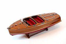 "Chris Craft Barrel Back Handmade Wooden Classic Boat Model 21.5"""