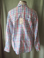 Mens Caribbean Multi Color 83% Linen 17% Cotton LS Plaid Shirt NWT $79.50 M