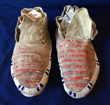 Antique Beaded and Quilled Northern Plains Sioux Moccasins Lakota *SS313