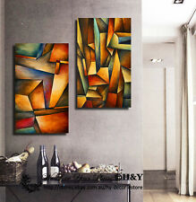 2 30x50x3cm Abstract Grid Pattern Framed Canvas Print Wall Art Decor Painting