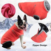 Warm Polar Fleece Pet Dog Coat Clothes Zipper Round Collar Vest Jumper Sweater