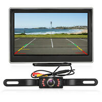 """Wired Car Rear View System Backup Reverse Camera Night Vision 8 IR + 5"""" Monitor"""