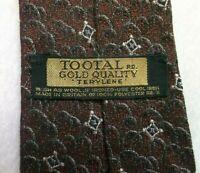 Tootal Tie Mens Necktie Vintage Retro 1950s 1960s GOLD QUALITY LABEL Brown