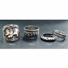 Hot Elephant animal tribal tibetan silver ring set band & midi. Boho/vintage/hip