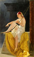 Oil painting luis ricardo falero - egyptian woman with harp female portrait 36""