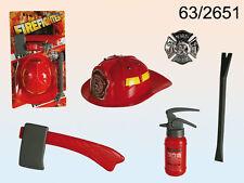 SET DA POMPIERE IN PVC Carnevale Giocattolo Vigile del Fuoco Casco Fire 63-2651