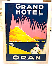 ALGERIA: Hotel Grand in ORAN – RARE Colonial Vintage Label – Medium Size