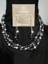 .925 Sterling Silver Necklace/Earring-Tourmaline&Pearls-Gianni Bernini $530.NWT
