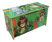 JUNGLE GREEN KIDS CHILDRENS WOODEN TOY BOX BENCH STORAGE BOX * BRAND NEW *