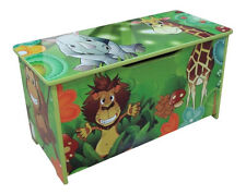 JUNGLE GREEN KIDS CHILDRENS WOODEN TOY BOX BENCH STORAGE BOX * BRAND NEW *
