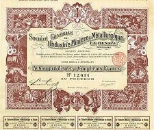 RUSSIA MINING & METALLURGY INDUSTRY  stock certificate 1897
