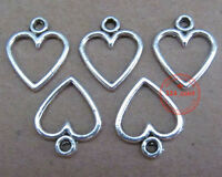 P026 50pcs Tibetan Silver Dangle Charm Love Heart Beads Findings  Wholesale