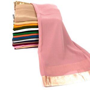 Silk Border Chiffon Sparkle Scarf Hijab Sarong Large Cotton Maxi Shawl Wrap Maxi