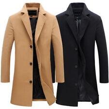Vintage Men's Trench Coat Winter Warm Long Jacket Single Breasted Overcoat Coat