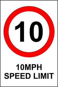 Warning 10 mph Speed limit metal park safety sign