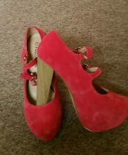 suede coral red block double strap heel shoes size6