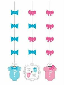 Bow or Bow Tie? Gender Reveal Party Hanging Cutouts  - 3 Count Package