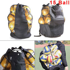 Black Heavy Duty Football Netball Rugby Mesh Net Bag 15 Ball Carry Sack Holdall