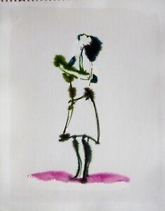 WOMAN original artwork watercolor painting drawing portrait figure BELAUBRE 1997