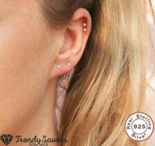 2.5mm Cubic Zirconia Tiny 925 Sterling Silver Cartilage Helix Nose Stud Earrings