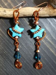 UNIQUE TURQUOISE HOWLITE STAR/COPPER BEAD/TEAL CRYSTAL/COPPER WIRE WRAP EARRINGS