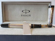 PARKER DUOFOLD FOUNTAIN PEN STERLING SILVER  INTERNATIONAL BROAD  PT NEW IN BOX