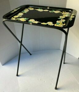 Vintage Metal Floral TV Tray with Stand Black Daisies Ribbon Border
