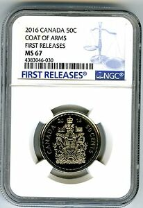 2016 CANADA 50 CENT COAT OF ARMS HALF DOLLAR NGC MS67 FIRST RELEASES... RARE !!