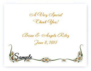 100 Custom Personalized Daisy Border Wedding Bridal Thank You Cards