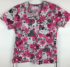 Peaches Scrub Top Size Small Pink Black Flora Embroidered Ribbon Breast Cancer S