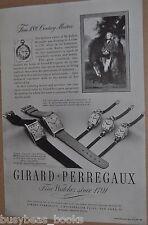 1947 Girard Perregaux Watch advertisement, mens & ladys wristwatches
