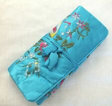CHINESE SILK BLUE EMBROIDERED JEWELLERY ROLL MAKE UP COSMETIC BAG CASE JAPANESE