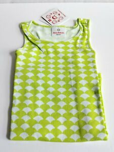 Hanna Andersson Girls Lime Green White Tank Top Size 130/ US 8 Cotton Shirt Play