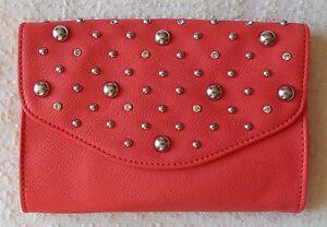 NEW Grace Adele BRITT Coral Clutch Purse Bag 22 inch detachable strap HTF