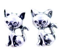 Vintage retro style antique silver coloured kitty kitten cat stud earrings
