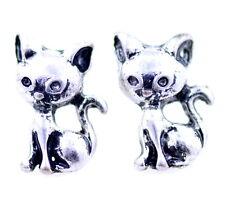 orecchini color gattino gattino gatto d'argento antico Vintage stile retrò