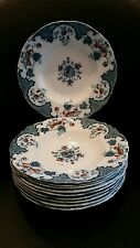 "(10) J&G Meakin Hanley England 9"" Soup Bowls Sevres - Multicolored Blue and Red"