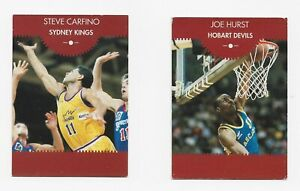 1989 NBL Casa Fiesta 2 cards S Carfino Sydney Kings & J Hurst Hobart Devils rare