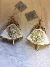 2 x Gisela Graham Gold Angels Christmas Tree Hanging Decorations Ornaments -705