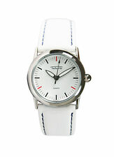 Talbots Women's Silver-Tone Watch with White/ Blue Leather Strap. New and unworn