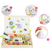 Educational Magnetic Box w/ Whiteboard & Chalkboard Jigsaw Wooden Puzzle Toy LL