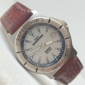 Vintage 1997 Timex Expedition Indiglo Women's Date Watch Silver Brown Leather