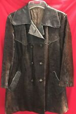 Rare Womens Shiny Horse Hair And Leather Long Jacket~sz Large~Brown Short Hair