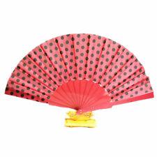 HOT Rosa a Pois forte tessuto Hand Held in plastica PVC Fan Festa Di Nozze Prop