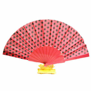 Hot Pink Spot Strong Fabric Hand Held Plastic PVC Fan Wedding Party Prop