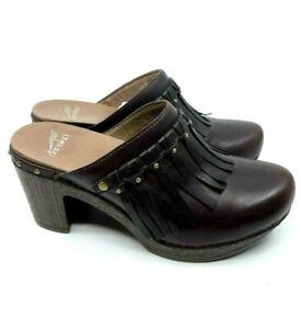 Dansko Brown Leather Mule Slip In Rubber Sole Heel Fringe Vamp Studs Size EU 39