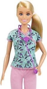 Barbie Nurse Doll in Scrubs Purple Stethoscope GTW39